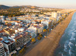 Aerial view of coast at Calafell cityscape with a modern apartment buildings