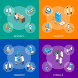 Science Chemical Pharmaceutical 3d Banner Set Isometric View. Vector