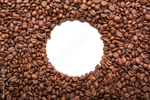 Circle frame of roasted coffee beans isolated on white may use as background or texture (with easy removable sample text)