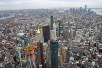 Aerial view of Manhattan in New York City showing the classic high rise buildings and city scape in the USA