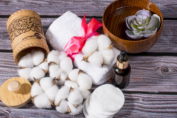 Spa treatments and cotton. Natural ingredients for treatments.