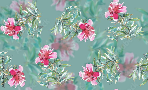 watercolor peonies with blurred elements - 260605238