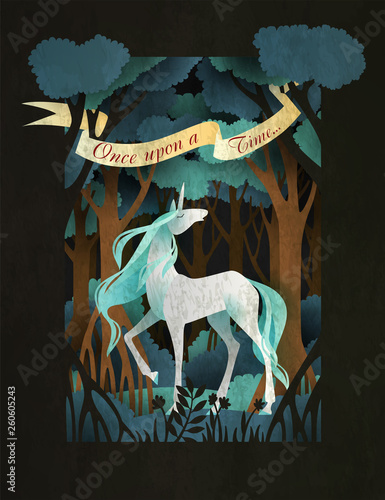Unicorn in front of magic forest. Fairy tale book cover or poster template