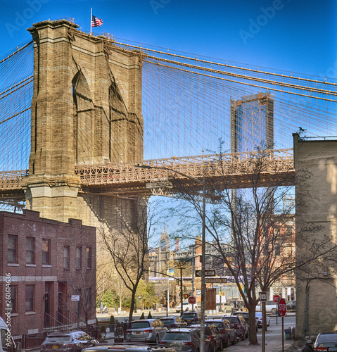 Fototapeten Brooklyn Bridge Streets of New York City.