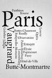 Paris Word cloud with districts of the city