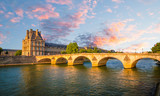 Fototapeta Fototapety z wieżą Eiffla - Bridge and buildings near the Seine river in Paris, France © Olena Z