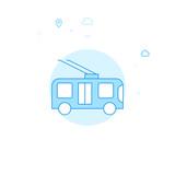Trolleybus, Trackless Trolley Flat Vector Illustration, Icon. Light Blue Monochrome Design. Editable Stroke