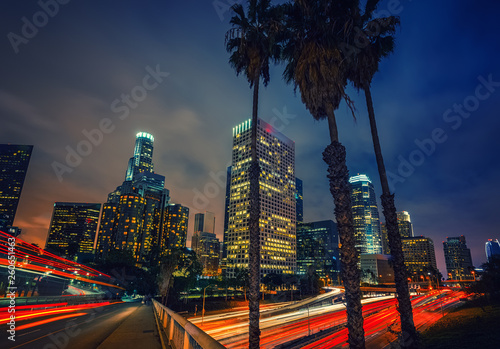 Night traffic in Los Angeles, CA, USA