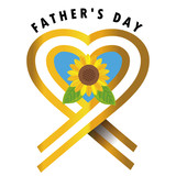 父の日のロゴ・ロゴマーク・アイコン|ヒマワリとリボンデザイン|Father's Day ベクターデータ