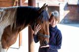 Fototapeta Fototapety z końmi - Girl and horse © AnnaFotyma