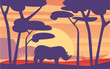 Beautiful scene of nature, peaceful African landscape with rhinoceros at evening time, template for banner, poster, magazine, cover horizontal vector Illustration - 260675021