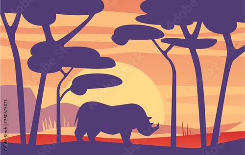 Beautiful scene of nature, peaceful African landscape with rhinoceros at evening time, template for banner, poster, magazine, cover horizontal vector Illustration
