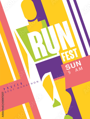 Run fest colorful poster, best marathon, template for sport event, championship, tournament, can be used for card, banner, print, leaflet vector Illustration - 260675257