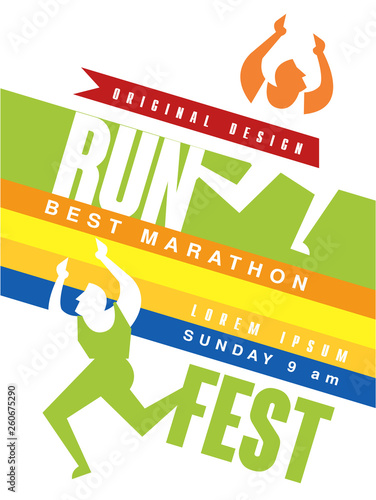 Run fest colorful poster, best marathon jriginal design template for sport event, championship, tournament, can be used for card, banner, print, leaflet vector Illustration © topvectors