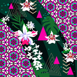Silk scarf with orchids and geometric motif
