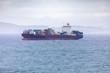 Quadro a container ship at the sea