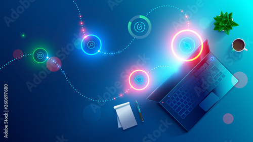 Software development, working on laptop. Night workplace of coder top view . programming of online internet website. Desktop application design concept. Abstract computer icons hovered over keyboard