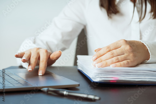 Woman working at office hand on keyboard close up © Ирина Швейн