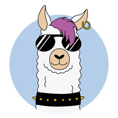 Rock llama with sunglasses and earring. vector isolated