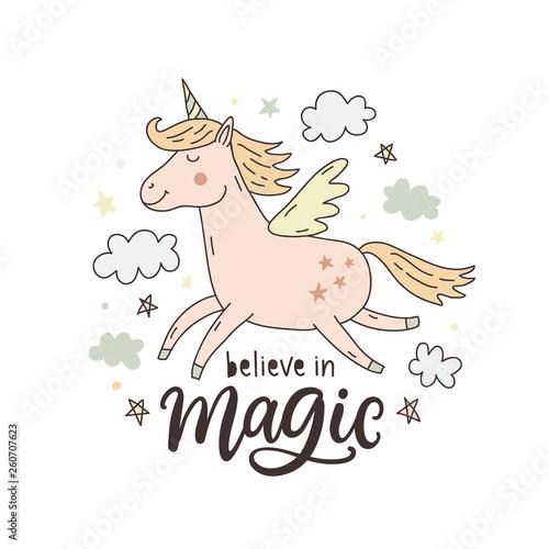 Unicorn magic hand drawn cute poster