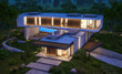 Leinwandbild Motiv 3d rendering of modern cozy house on the hill with garage and pool for sale or rent with beautiful landscaping on background. Clear summer night with many stars on the sky.