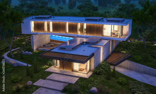 3d rendering of modern cozy house on the hill with garage and pool for sale or rent with beautiful landscaping on background. Clear summer night with many stars on the sky. - 260716823