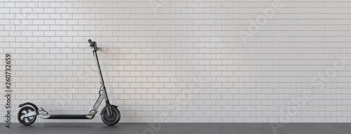 canvas print picture Panorama E-Scooter geparkt für Mobilität in der Stadt