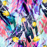 Watercolor seamless vintage background with a floral pattern, a branch of a rose flower, tulip, leaves, lavender, wild flower. Fashionable and stylish drawing. Abstract splash of pink, white, yellow,