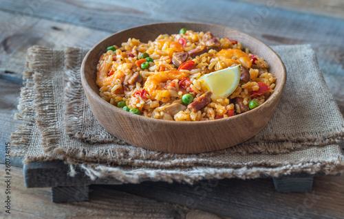 Bowl of chicken and chorizo paella - 260734815