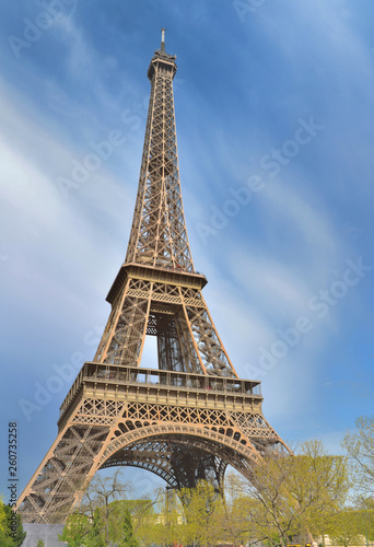 famous eiffel tower  on the sky in Paris - France - 260735258