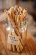 Close Up Of Reed Drinking Straws In Sustainable Plastic Free Grocery Store - 260737044