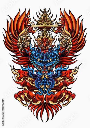 shield with wings and wings Thai tradition garuda bird human