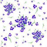 Seamless pattern of spring flowers purple irises, abstract print background, fabrics
