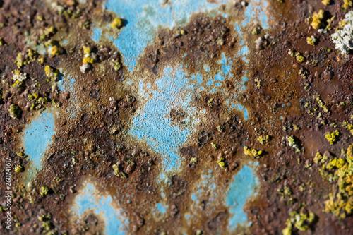 Metal oxidado en tono azul y naranja. Mapa abstracto