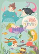 Cute cartoon card with little mermaids. Under the sea - 260745493