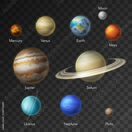 Solar system planets galaxy icons