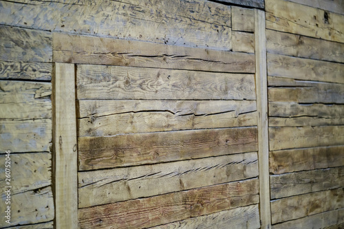 beautiful old wood texture pattern in modern building interior - 260752046