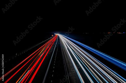 canvas print picture Autobahn bei Nacht mit Lichtstreifen