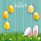 Hanging Golden Easter Eggs Hare Ears Cyan Wood