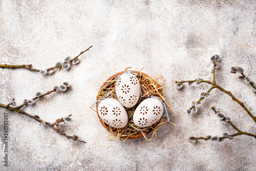 Easter background with willow and eggs - 260765287