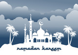 Ramadan vector illustration of the mosque in background