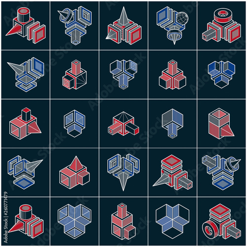 Abstract constructions vector set, dimensional designs collection. - 260771479