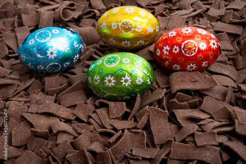 chocolate eggs in chocolate chips