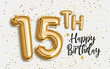 Happy 15th birthday gold foil balloon greeting background. 15 years anniversary logo template- 15th celebrating with confetti. Photo stock.