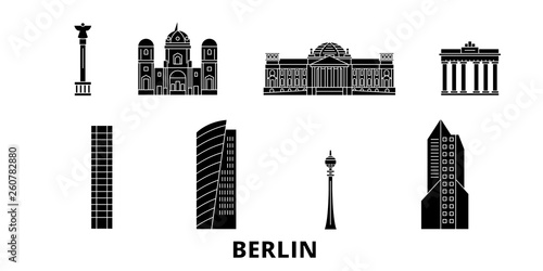 Germany, Berlin flat travel skyline set. Germany, Berlin black city vector panorama, illustration, travel sights, landmarks, streets. © iconsgraph