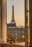 Fototapeta Fototapety Paryż - beautiful paris balcony at sunset with eiffel tower view  © Karen Mandau