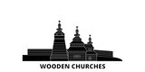 Poland, Wooden Churches In The Carpathian Mountain Area flat travel skyline set. Poland, Wooden Churches In The Carpathian Mountain Area black city vector panorama, illustration, travel sights