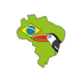 toucan bird animal with map of brazil
