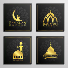 Ramadan Kareem and Eid Mubarak set of emblems typography, arabic calligraphy, dome, mosque, moon and arabian prayer, traveller on camels  for islamic icon greeting banner design.