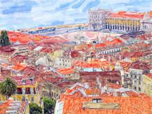 "Постер, картина, фотообои ""Aeria view over Lisbon capital of Portugal. Water color illustration."""